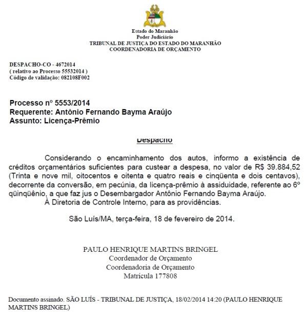Desembargador (documento Blog do Neto Ferreira).
