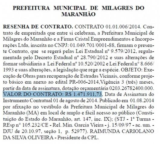 Extrato de contrato Milagre do Maranhão