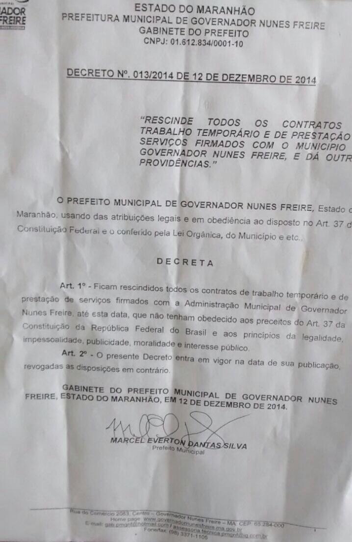 ato de exoneração assinado pelo jovem
