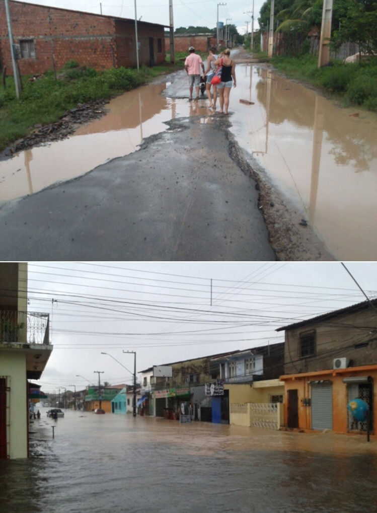Ruas alagadas em bairro de São Luís.