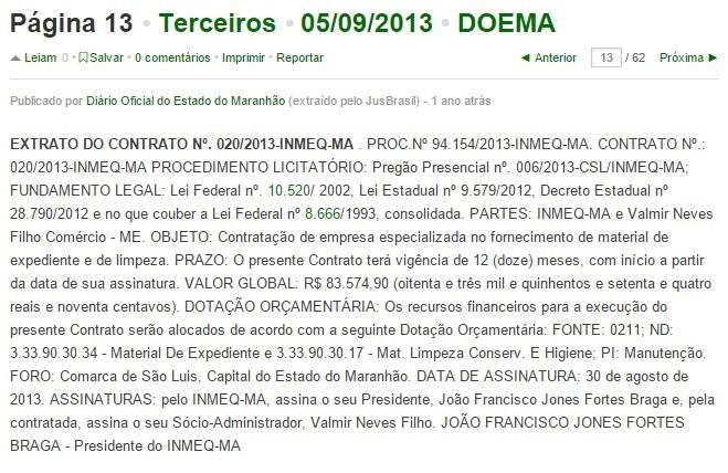 Contrato Neves Filho 2013.