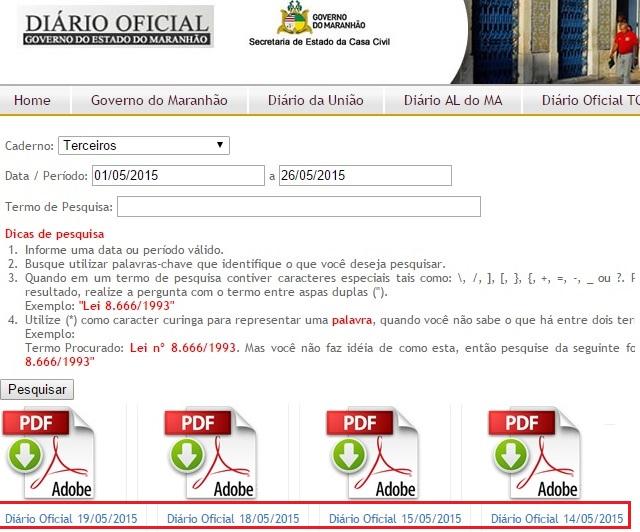Diário Oficial do Maranhão.
