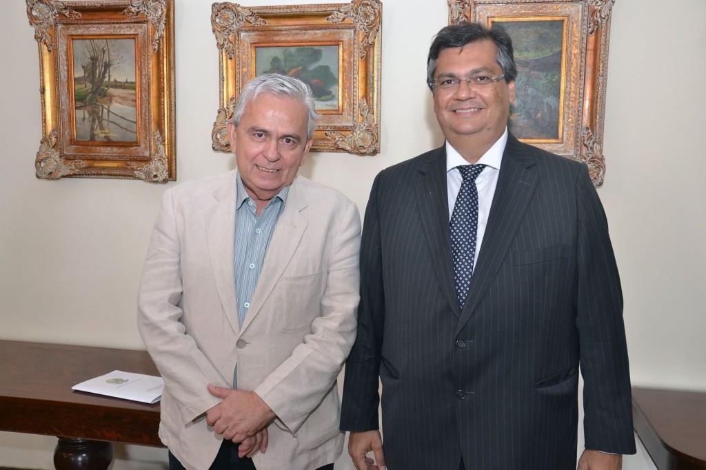 Governador Flávio Dino ao lado do líder da bancada maranhense na Câmara Federal, deputado Pedro Fernandes.