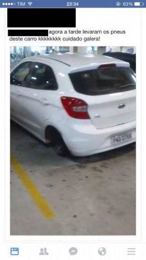 Pneu de carro é furtado em estacionamento de shopping