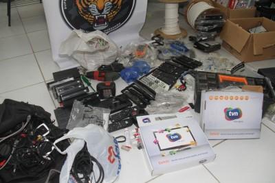 Equipamentos encontrados na casa de Cícero Moraes Lima Júnior