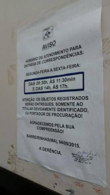 Aviso sobre horário de atendimento na agência dos Correios em Barreirinhas