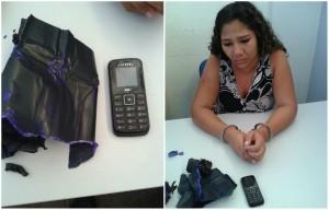 Márcia Fernanda de Jesus Santos foi pega tentando entrar com celular nas partes íntimas
