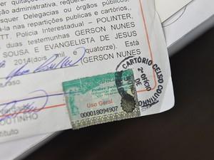 Selo que levantou suspeitas sobre o documento
