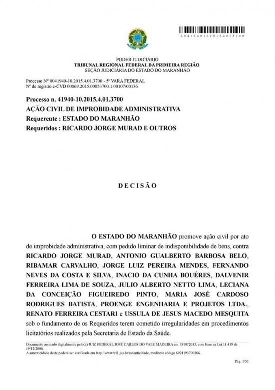 Documento judicial com a decisão do bloqueio de bens