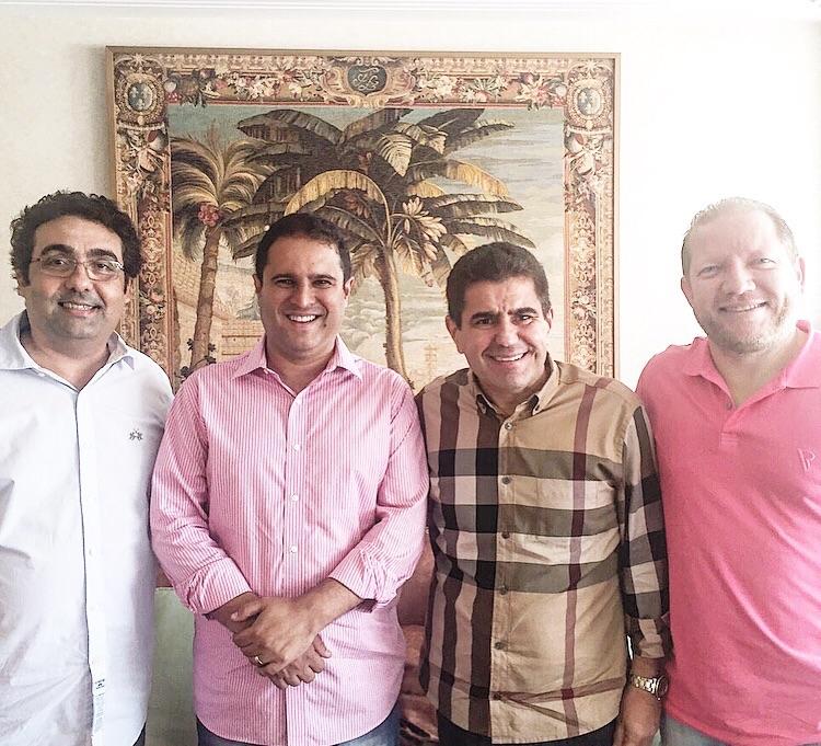 Secretário Geral do partido,  Wiliam Júnior, o prefeito de São Luís Edivaldo Holanda, o presidente do DEM, Ricardo Guterres e o deputado estadual Othelino Neto.