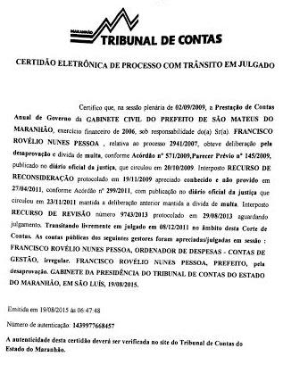 Decisão do Tribunal de Contas do Estado.