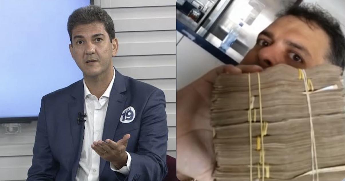 Candidato Eduardo Braide e seu ex-assessor, Fabiano Bezerra, que foi filmado com maços de dinheiro.