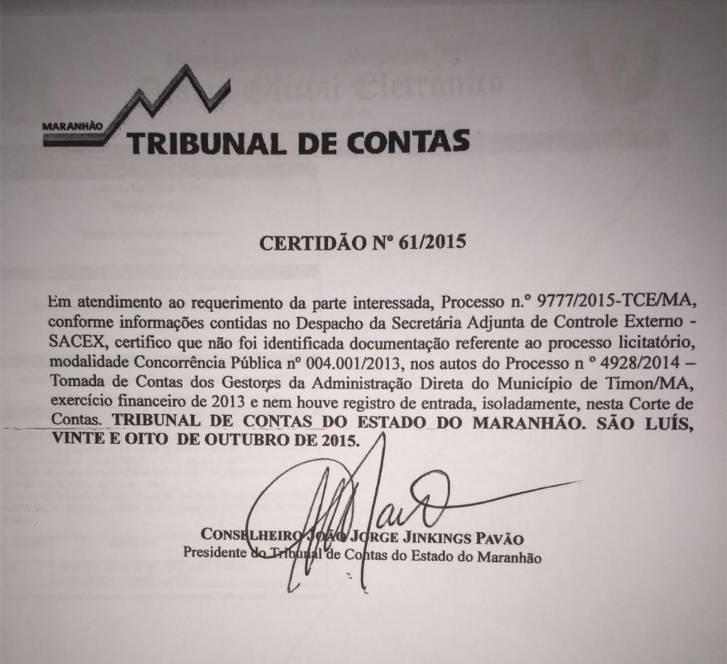 Documento que comprova a omissão do contrato pelo Prefeito de Timon.