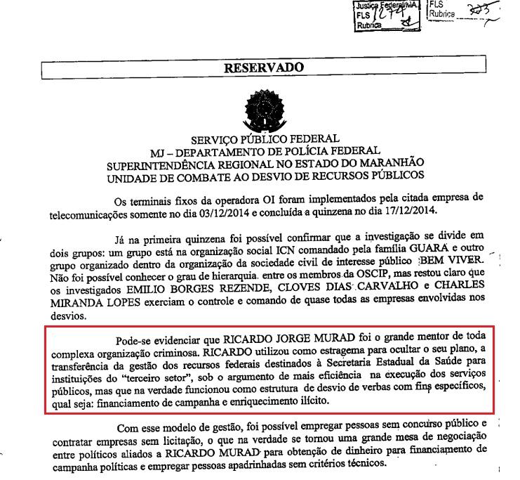 Documento da PF afirmando que Ricardo Murad participou do esquema de desviou de verbas da Saúde.