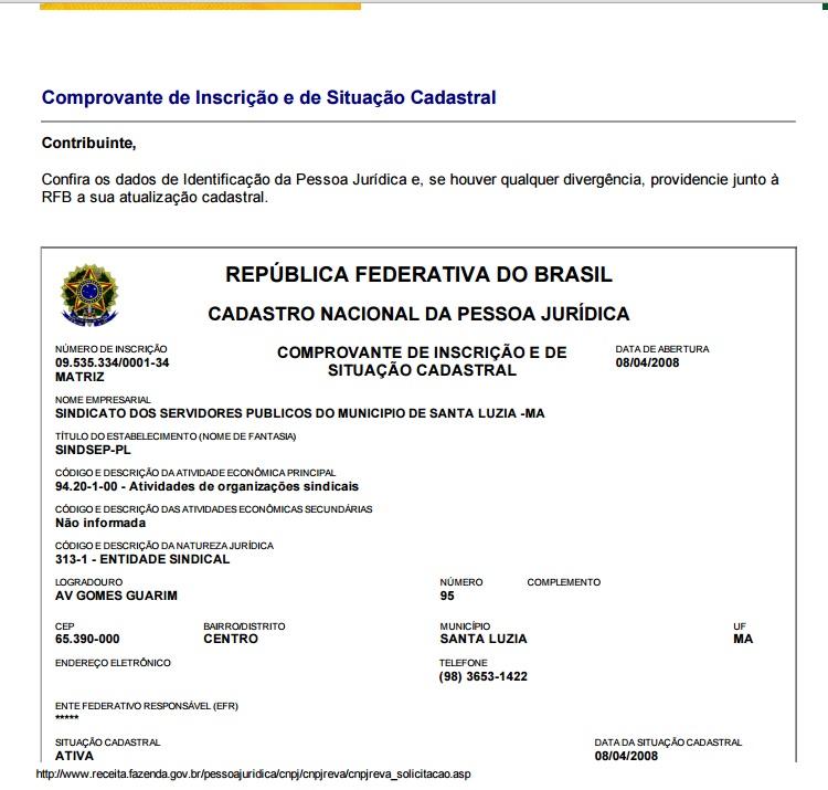 Cadastro do SINDSEP-PL na Receita Federal.