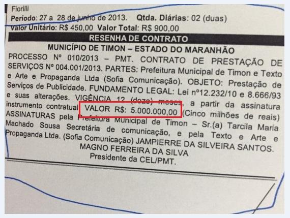 Contrato omitido pela Prefeitura de Timon na prestação de contas.