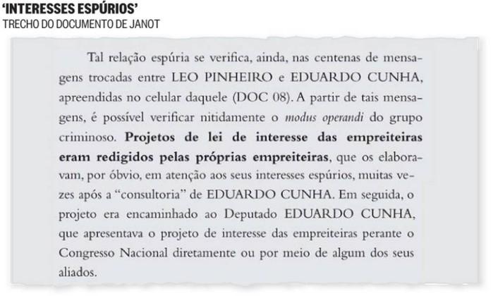 Trecho do documento de Janot
