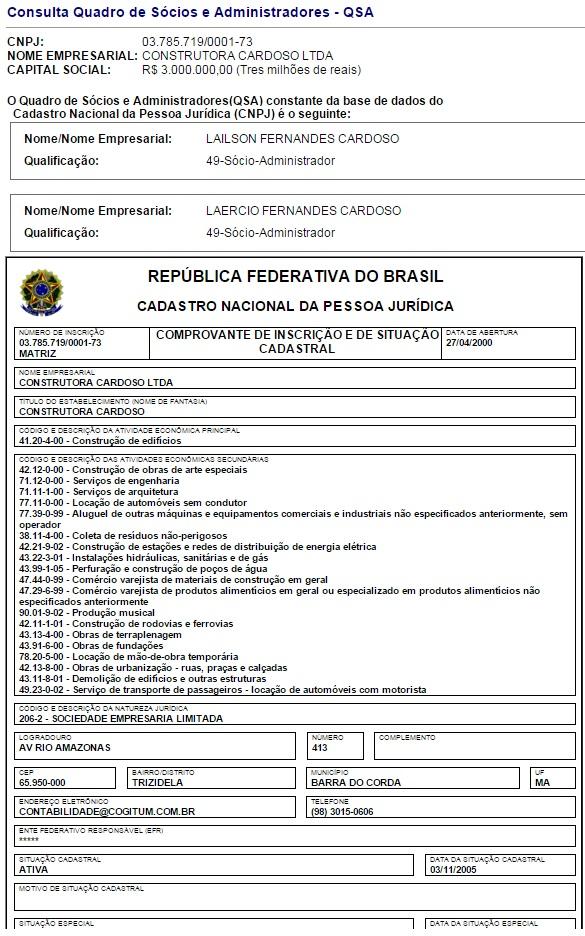 Cadastro da Construtora Cardoso na Receita Federal.
