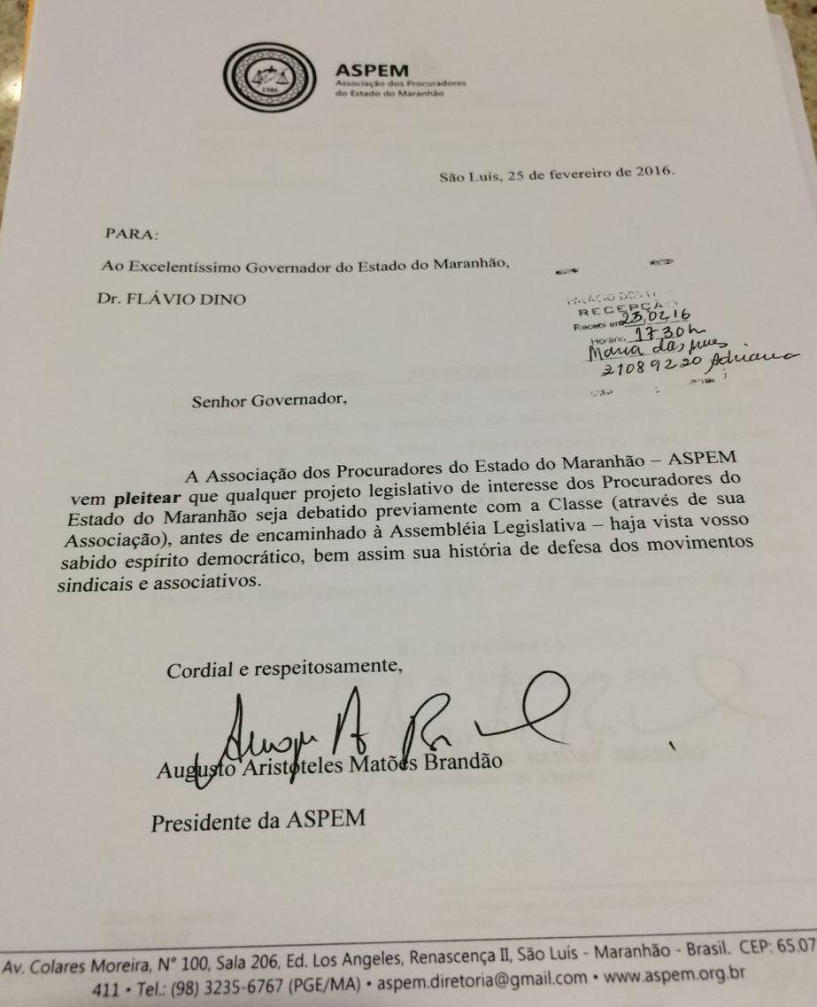 Documento que solicita reunião com o governador.