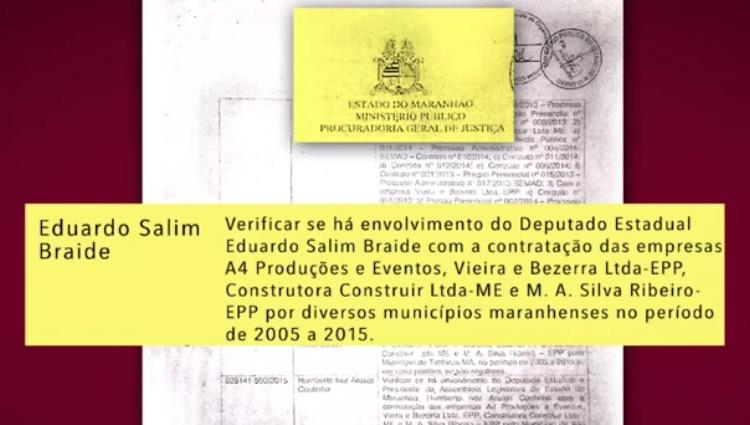 Documento mostra que Procuradoria mandou apurar, ou seja, investigar, o envolvimento do candidato com empresas que desviaram verba da cidade de Anajatuba.
