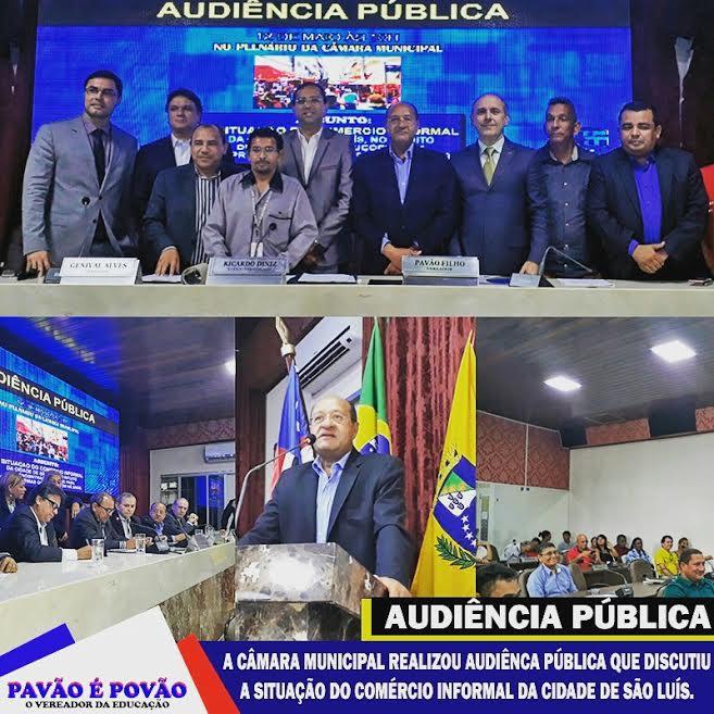 Pavão Filho e participantes da audiência sobre comércio informal, quando foi sugerida criação de uma comissão para fiscalizar a atividade.