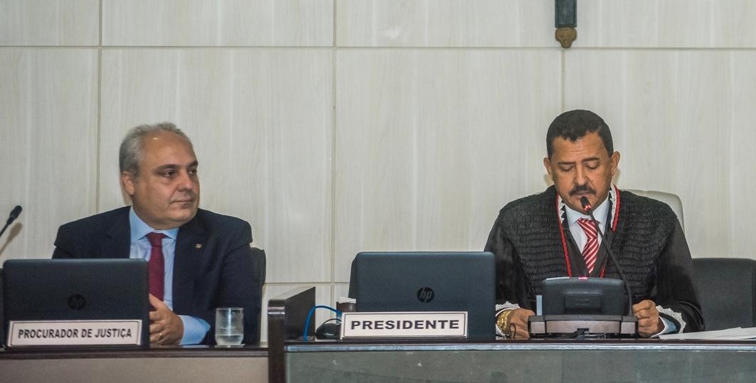 Secretário Marcelo Tavares ao lado do presidente do Tribunal de Justiça, desembargador José Joaquim, durante abertura do Ano Judiciário de 2019. Foto ilustração.