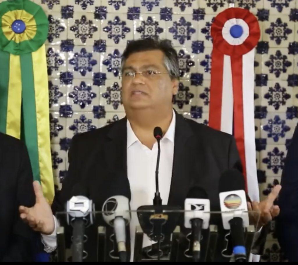 Governador Flávio Dino em entrevista coletiva da qual tratou de médicas emergenciais para o combate ao novo coronavírus.